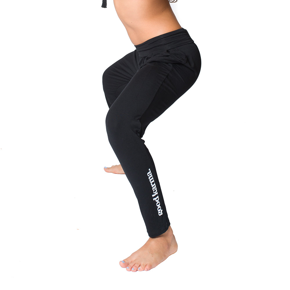 GOOD KARMA ~ BLACK HAREM VISCOSE JOGGER PANT W/POCKETS