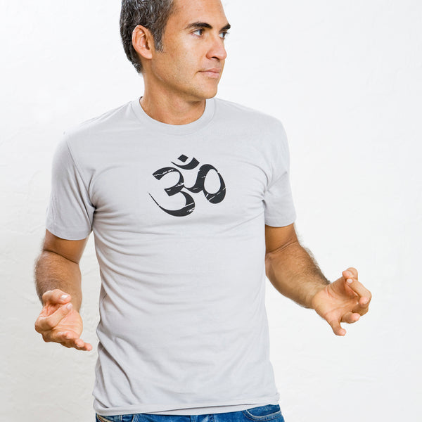 OM LOGO ~ SILVER GREY MEN SHEER JERSEY FITTED CREW T-SHIRT