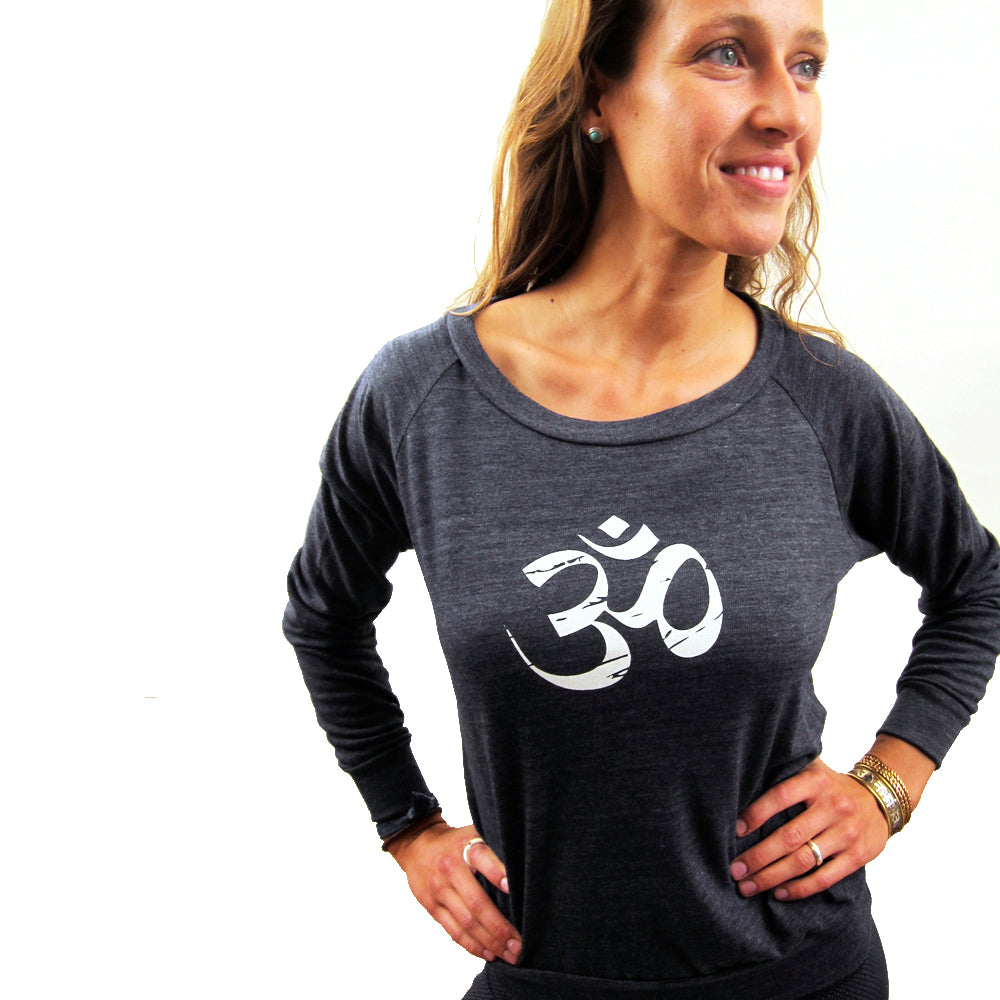 VINTAGE OM ~ HEATHER BLACK ORGANIC RECYCLED PULLOVER
