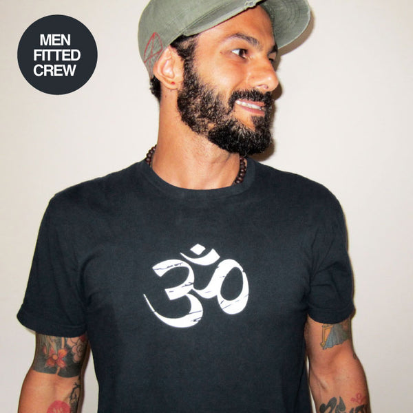 OM YOGA LOGO ~ BLACK MENS SHEER FITTED CREW T-SHIRT