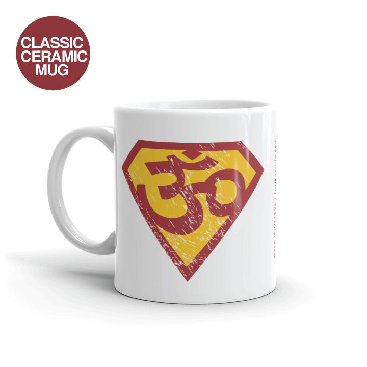 SUPER OM WHITE CERAMIC COFFEE MUG 11oz