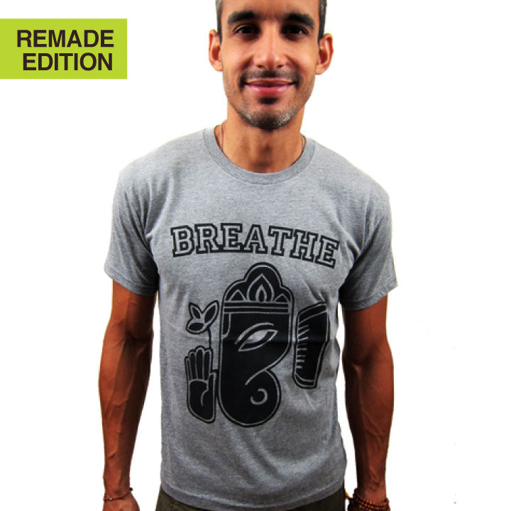 BREATHE GANESH ~ HEATHER GREY MENS TRIBLEND CREW T-SHIRT
