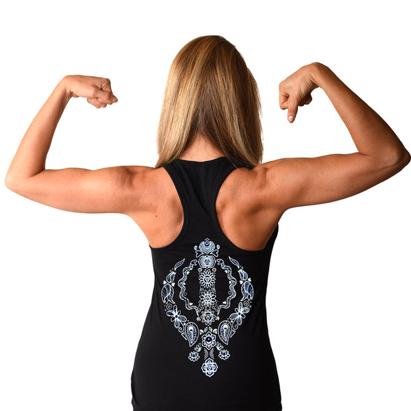 CHAKRAS BACK ~ BLACK COTTON RACER TANK