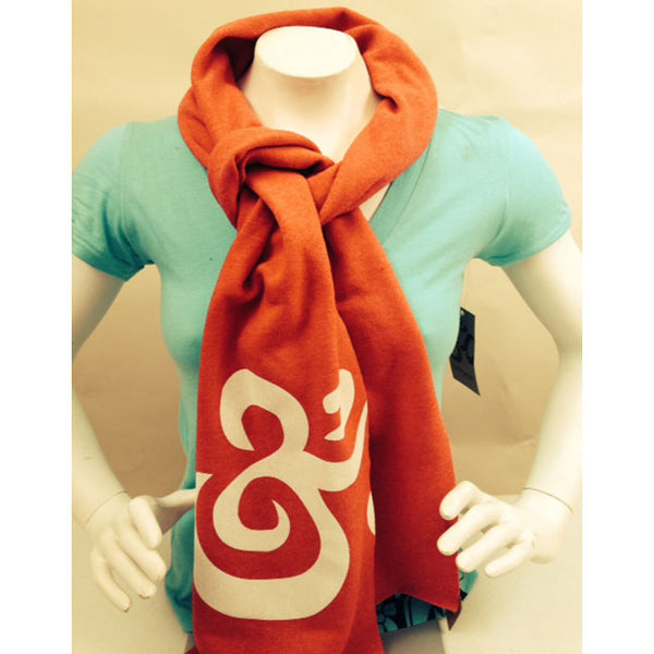 OM REALIZE ~ RED PRINTED UNISEX FLEECE SCARF