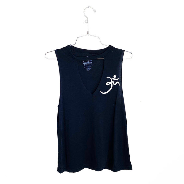RANDOM OM ~ BLACK CUT NECK MUSCLE TANK