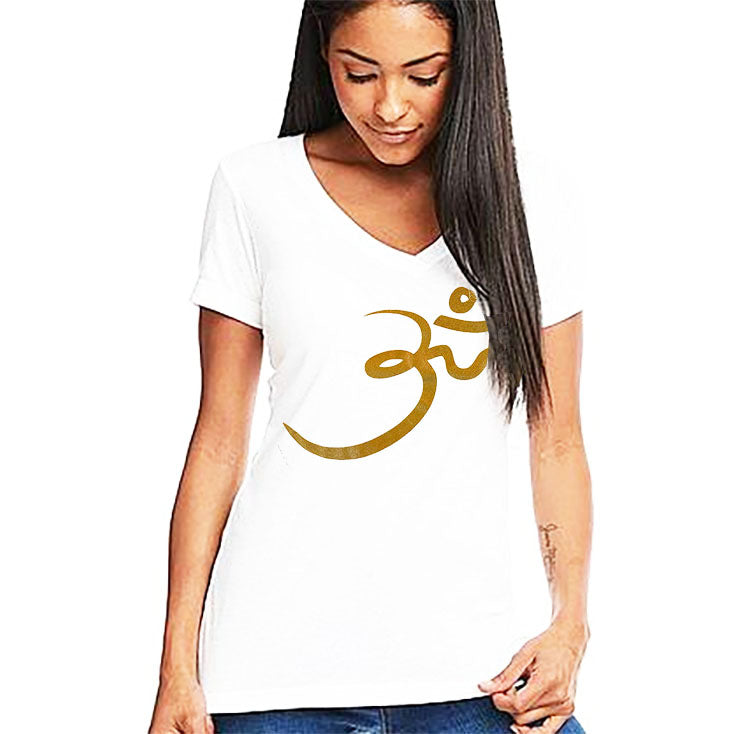 RANDOM OM GOLD ~  WHITE WOMAN COTTON V-NECK