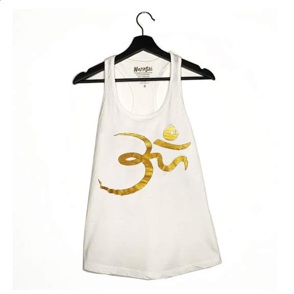 RANDOM OM GOLD ~ WHITE COTTON RACER TANK