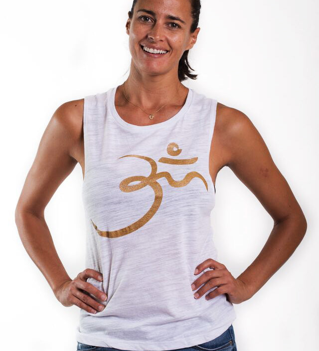 RANDOM OM GOLD FLOWY MUSCLE TANKS  FY040G-SMT-WH - Funky Yoga