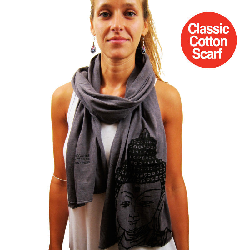 BUDDHA PRINTED CLASSIC COTTON SCARF - Funky Yoga  Gear & Accessories