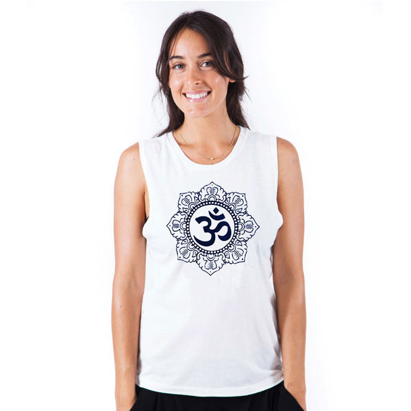 OM CIRCLE ~ WHITE FLOWY MUSCLE TANK
