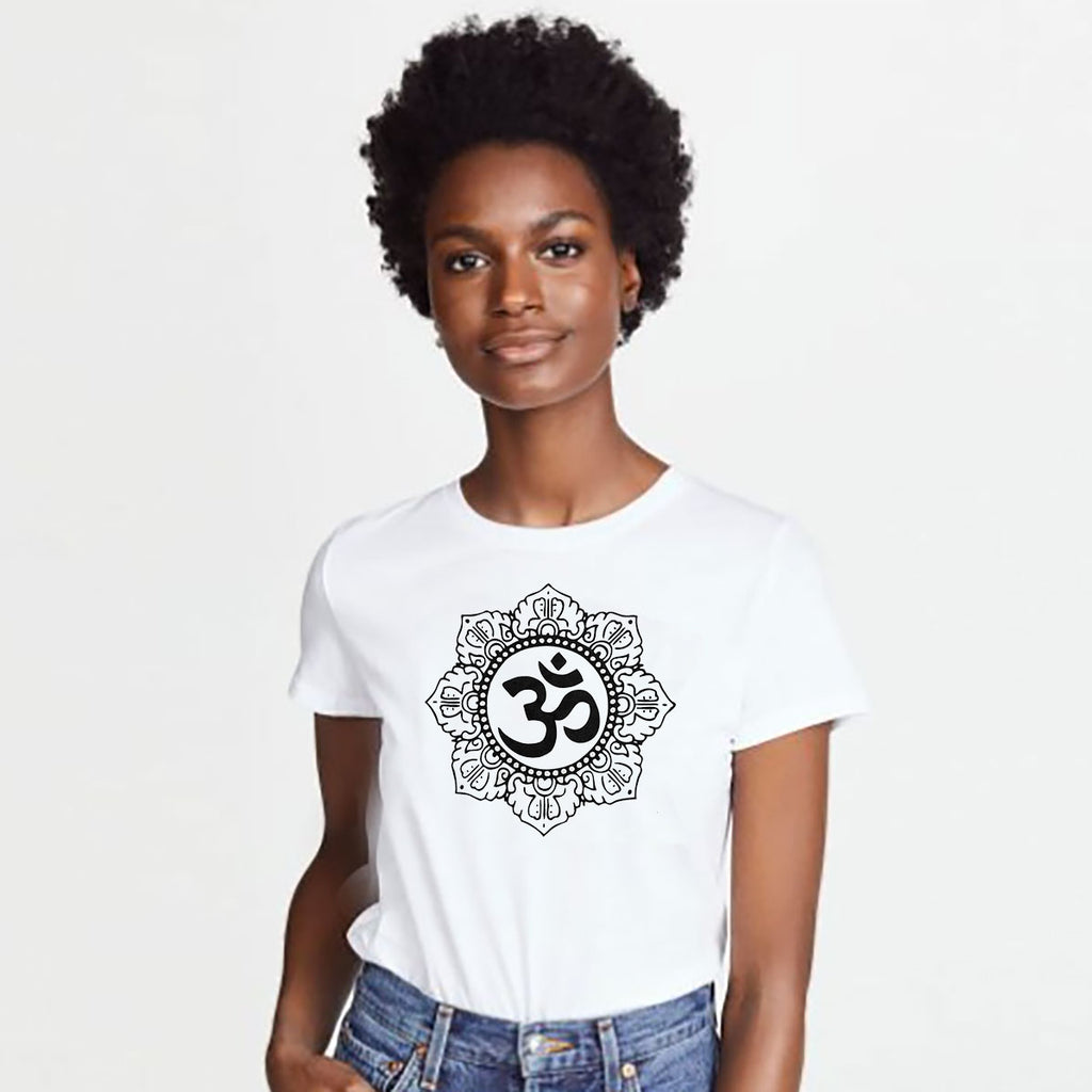 OM CIRCLE ~ OPEN NECK COTTON SHEER TEE