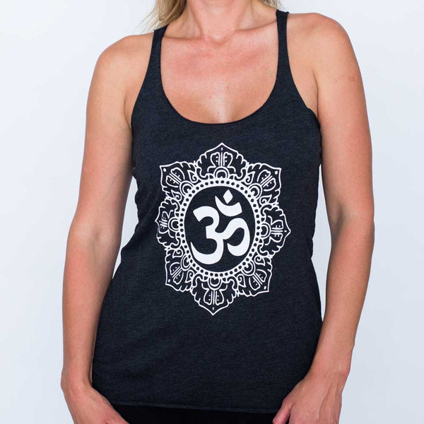 OM CIRCLE BLACK TRIBLEND RACER TANK