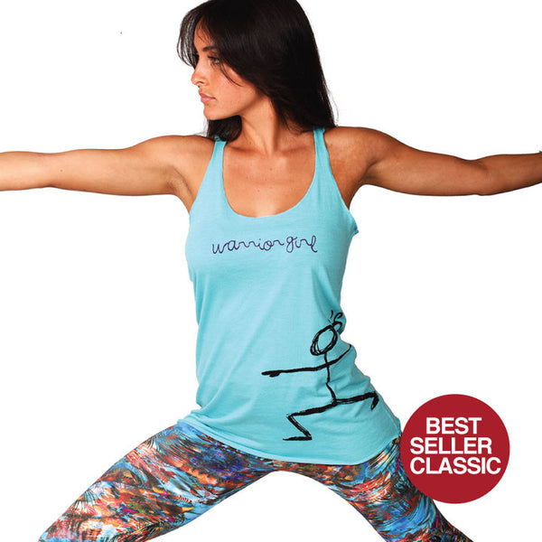 WARRIOR GIRL ~ AQUA TRIBLEND RACER TANK