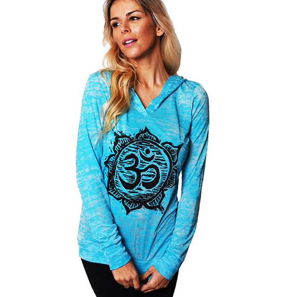 OM ANTIQUE BURNOUT HOODIE FY099-GBH-AQ - Funky Yoga  Gear & Accessories