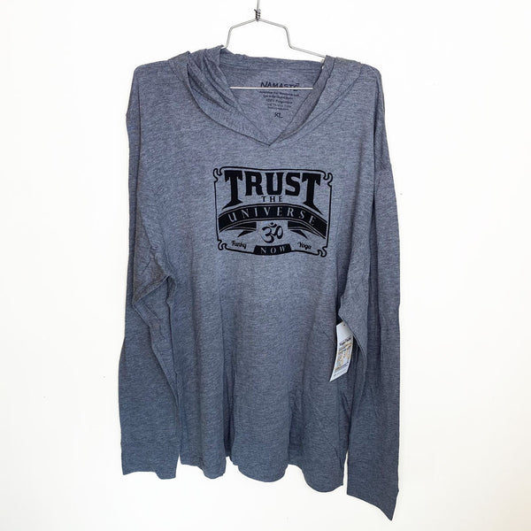 TRUST THE UNIVERSE ~ HEATHER GREY MENS TRIBLEND HOODIES