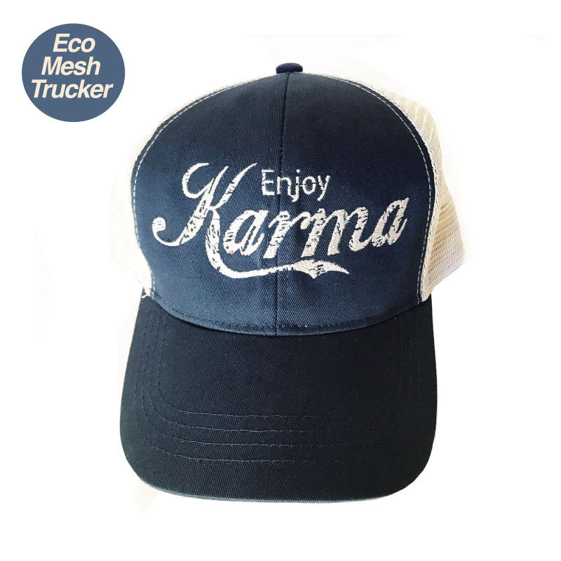 ENJOY KARMA NAVY ECO UNISEX TRUCKER MESH CAP - Funky Yoga  Gear & Accessories