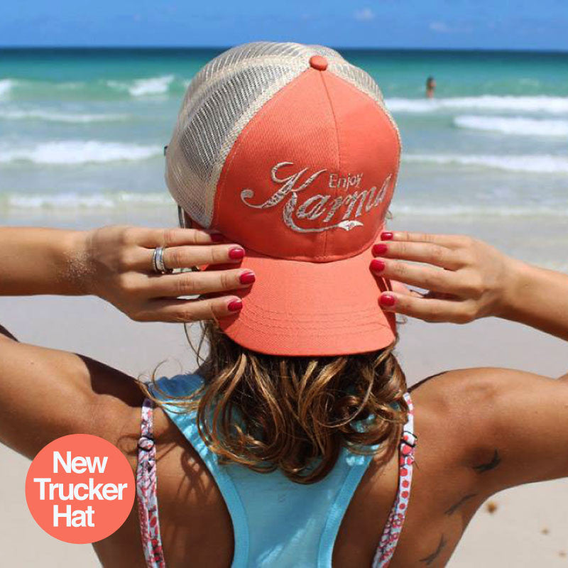 ENJOY KARMA ORANGE ECO UNISEX TRUCKER MESH CAP