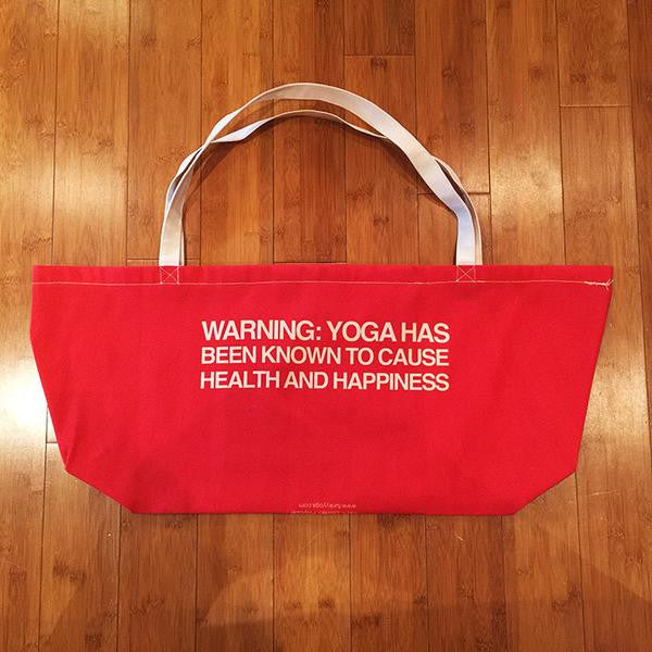 ENJOY KARMA  RED WATERPROOF RECYCLED YOGA TOTE BAG  30X10