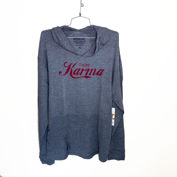 ENJOY KARMA ~ HEATHER GREY MENS TRIBLEND HOODIES