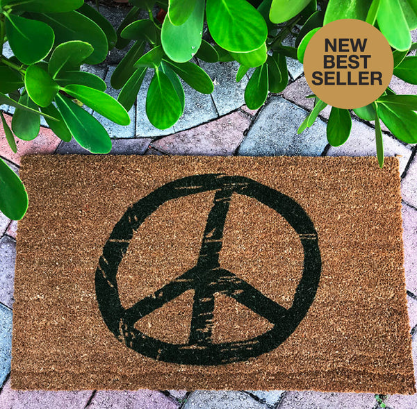 Peace Sign Printed Recycled Door Mat