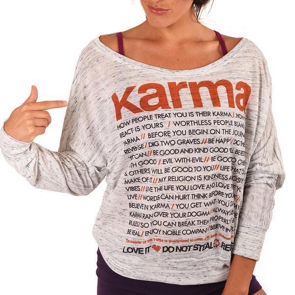 KARMA QUOTES MARBLE FLOWY LONG SLEEVE - Funky Yoga  Gear & Accessories
