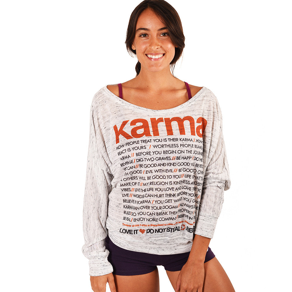 Karma Quotes Marble Flowy Long Sleeve Funky Yoga
