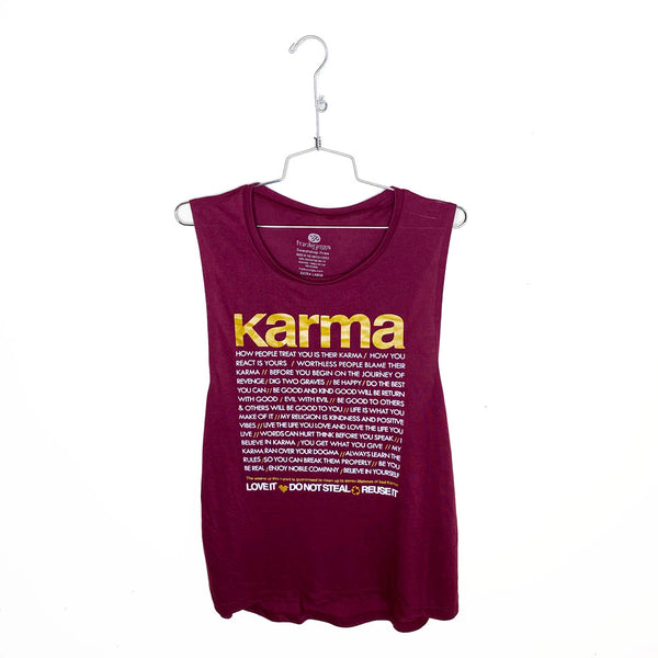 KARMA QUOTES GOLD ~ BURGUNDY FLOWY MUSCLE TANK