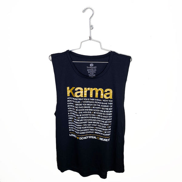 KARMA QUOTES GOLD ~ BLACK FLOWY MUSCLE TANK