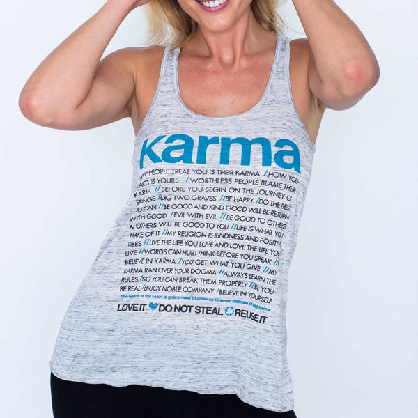 KARMA QUOTES BLUE ~ FLOWY RACER TANK