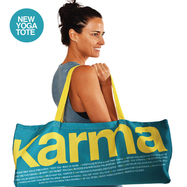 KARMA WATERPROOF RECYCLED YOGA TOTE BAG  30X10 - Funky Yoga  Gear & Accessories
