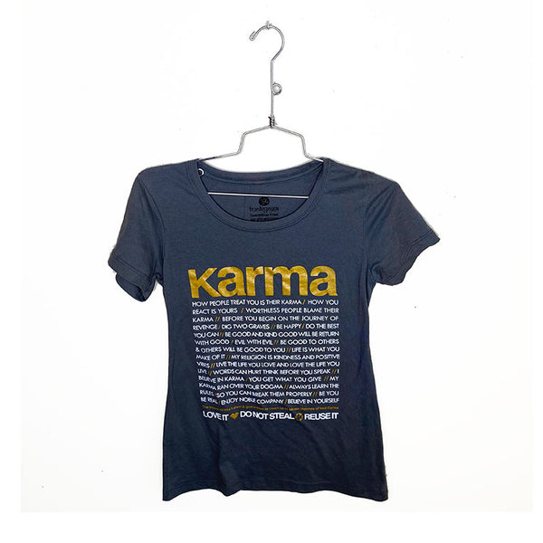 KARMA QUOTES ~ DARK GREY GIRLS COTTON SHEER TEE