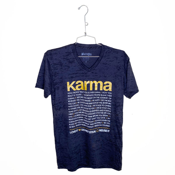 KARMA QUOTES ~  MENS BURNOUT V-NECK T-SHIRT