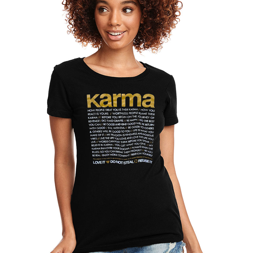 KARMA QUOTES ~ OPEN NECK BLACK COTTON SHEER TEE