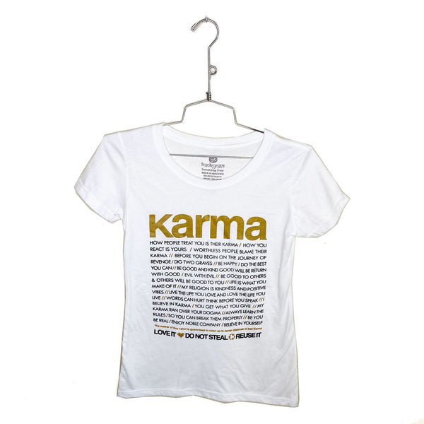 KARMA QUOTES GOLD ~ WHITE OPEN COTTON SHEER TEE