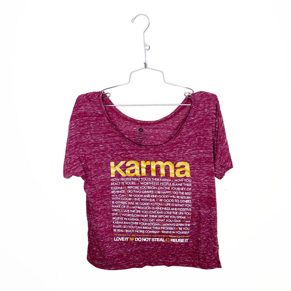 KARMA QUOTES ~ MARBLE RED  SCOOP FLOWY TEE