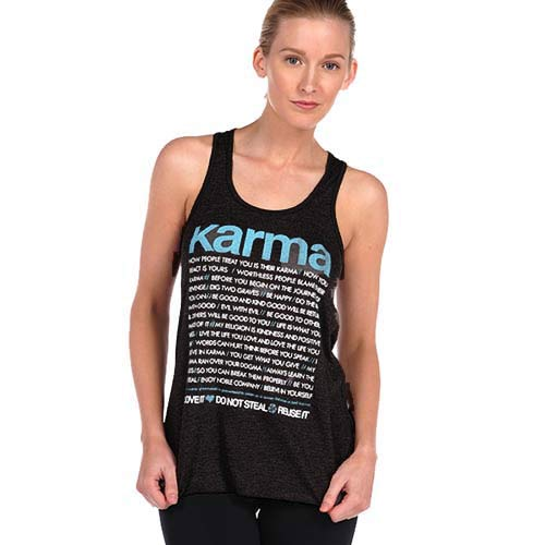 KARMA QUOTES ~ HEATHER BLACK TRI BLEND RACER TANK (Only XL)
