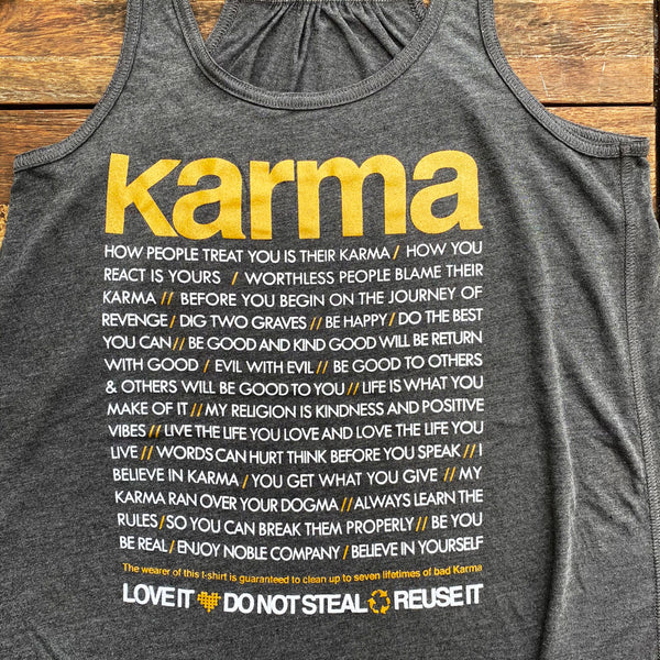 KARMA QUOTES  ~ BLACK FLOWY RACER TANK