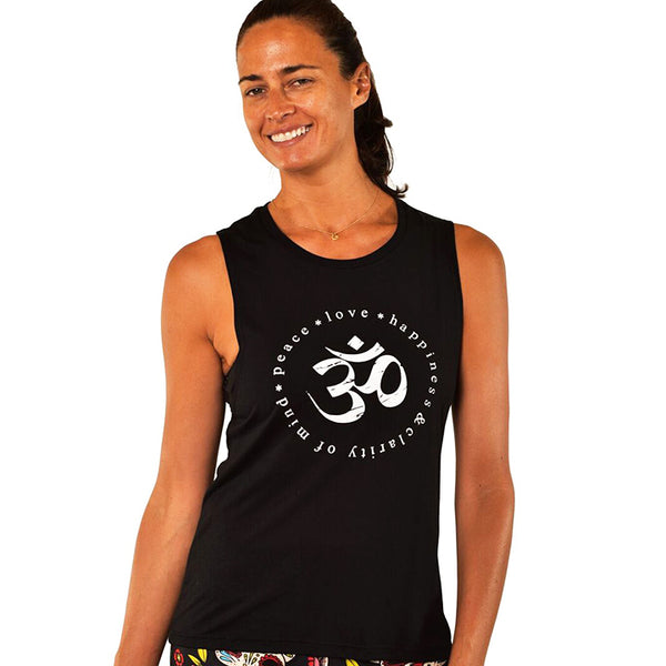 CLARITY OM SOLID BLACK FLOWY MUSCLE TANK