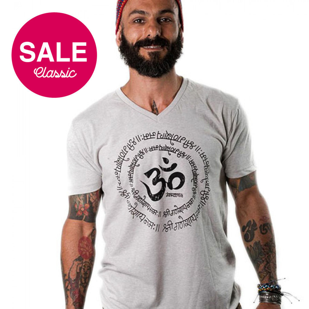 Om Sanskrit Triblend Mens V-Neck FY125-TMV-NT - Funky Yoga  Gear & Accessories