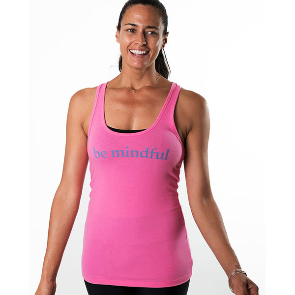 BE MINDFUL ~ HOT PINK COTTON RACER TANK