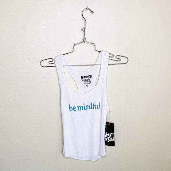 BE MINDFUL ~ WHITE COTTON RIB CROPPED RACER TANK