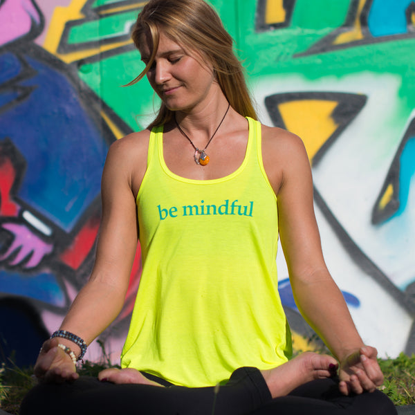 BE MINDFUL  ~ NEON YELLOW FLOWY RACER TANK