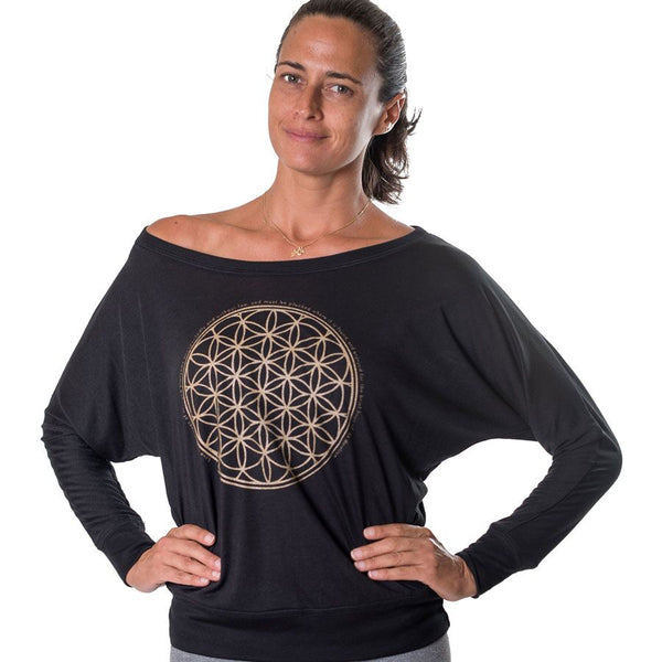 FLOWER OF LIFE GOLD ~ BLACK FLOWY LONG SLEEVE