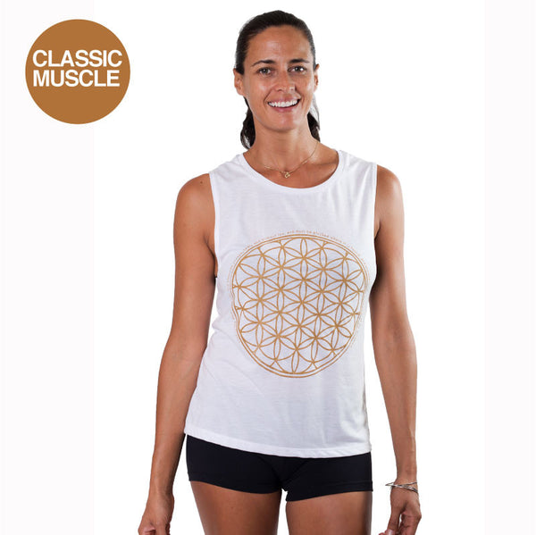 FLOWER OF LIFE GOLD FLOWY MUSCLE TANK - Funky Yoga  Gear & Accessories