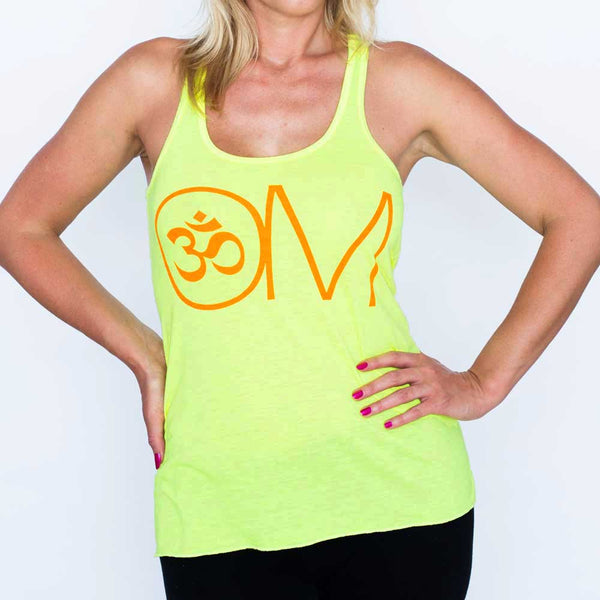 OVERSIZED OM NEON YELLOW CLASSIC FLOWY RACER TANK