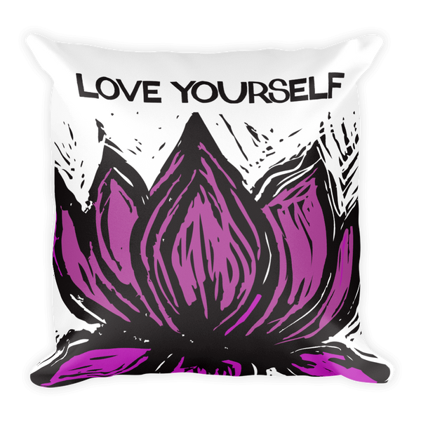 LOVE YOUR SELF SQUARE PILLOW CASE W/INSERT 18X18 - Funky Yoga  Gear & Accessories