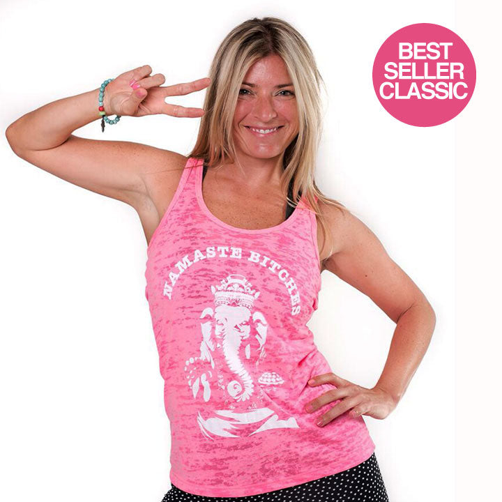 NAMASTE BITCHES HOT PINK CLASSICS BURNOUT RACER TANK