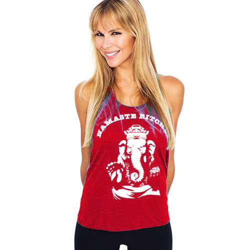 NAMASTE BITCHES ~ RED FLOWY RACER TANK