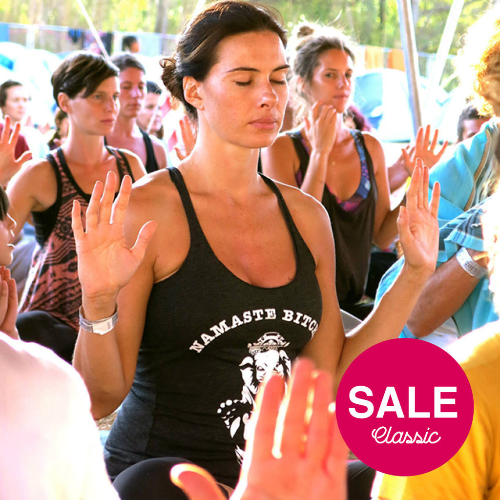 NAMASTE BITCHES CLASSIC TRIBLEND RACER TANK FY142-TBR-BK - Funky Yoga  Gear & Accessories