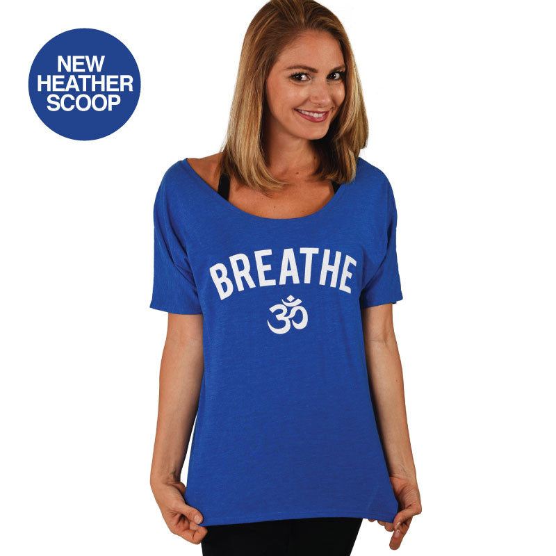 BREATHE OM SCOOP HEATHER FLOWY TEE